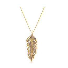 18K Gold Plated Pendant Necklace Full Rhinestone Alloy Material Jewelry Leaf shape Necklace For Women Fashion Crystal Jewelry 4138
