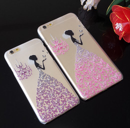 Wholesale Ultra Thin Diamond Bling Cover For Apple Iphone plus s Butterfly Skirts Case Embossed cell phone Protective Skin Transparent Shell