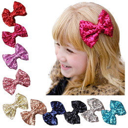10 Candy Colors, Hot New Children Sequin Barrettes Cute Baby Girl Big Bow Clips Boutique Hair Pin Luxury Girls Hairpin
