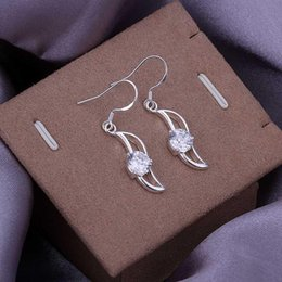 Wholesale sterling silver jewelry earring fine fashion inlay zircon banana drop earrings top quality SMTE246