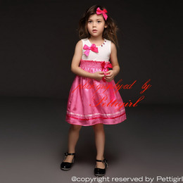 Pettigirl New Arrival Girls Dresses White Cotton Top With Bow Diamontes Collars Hot Pink Summer Casual Princess Dress Kids Clothes GD40322-5