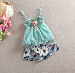 spring summer babys girls Childrens Princess two pieces sets of Outfits & Sets flower lace T-shirts + shorts