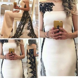 2016 Saudi Arabia Evening Dresses with Black Lace Applique Bateau Neck Floor Length Evening Gowns Custom Made