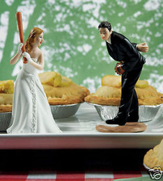 Wholesale Charming Baseball Wedding Cake Topper Decoration CupCake Toppers Resign Figurine Craft Souvenir New Wedding Favors Topper