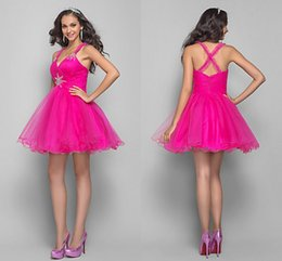 A-line Princess Fuchsia Straps Short Mini Tulle Coktail Dresses With Beading And Crystal Detailing Prom Evening Party Dresses