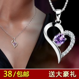 Wholesale Elegant mahogany Sterling Silver Necklace Pendant Korean Korean Short silver jewelry gift clavicle female bag mail