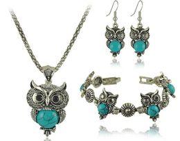 Wholesale New Brand Design Owl Jewelry Sets Tibetan Vintage Silver Turquoise Stone Pendant Necklace drop earrings Charm bracelet Set DS