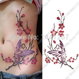 Wholesale Fashion Sexy Tattoo Stickers For Women cm Big Picture Plum and Butterfly Pattern Fake Tattoos Waterproof
