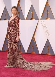 Chrissy Teigen in Marchesa 2016 Oscar Maternity Celebrity Dresses Wine Red Embroidery Mermaid 3 4 Illusion Sleeves and Keyhole Back Gowns