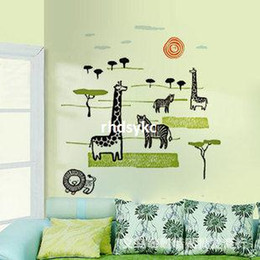 Wholesale wall stickers home decor wall stickers of three generations of African animal world tuba cartoon series children s bedroom wall s