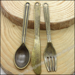Wholesale Mix Vintage Charms Spoon Knife Fork Pendant Antique bronze Zinc Alloy Fit Bracelet Necklace DIY Metal Jewelry Findings