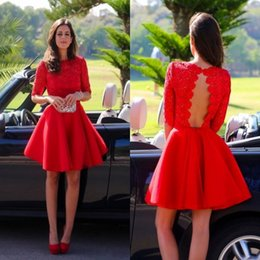 Red Lace Short Half Sleeve Party Dresses 2015 Fashion Jewel A line Backless Short Graduation Gown Custom made