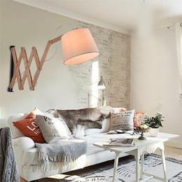 Wholesale Wall Lamp Modern Nordic Creative Simplicity Wood Telescopic Wall Lamp Living Room Aisle Corridor Balcony Light