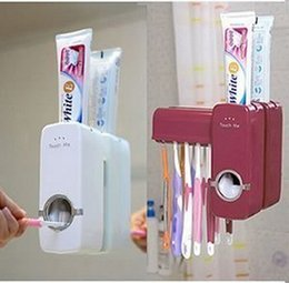 Wholesale Automatic Easy to Use Touch Me Toothpaste Dispenser with Toothbrush Holder Set