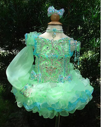 Wholesale 2015 Pretty Flower Girls Dresses One Sleeves Toddler Mini Infant Cupcakes Organza Ball Gown Little Kid Wedding Pageant Dresses