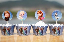 Wholesale 120pcs Princess Series Paper Wrapper Topper Party Buffet Cake Surrounding Edge Feast Dessert Packing wc816