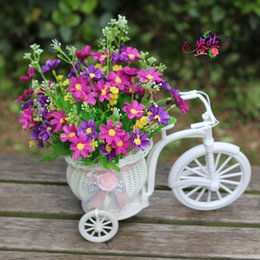 Wholesale Home decorations simulation flower flower car kit bicycle baskets woven artificial flowers silk flower jump orchid chrysanthemum