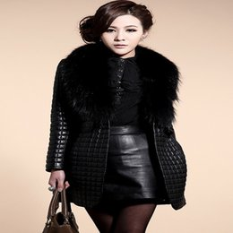 Women clothing fancy coats fur collar coat synthetic leather jacket outerwear Long warm winter jackets Parkas coat female NZ045