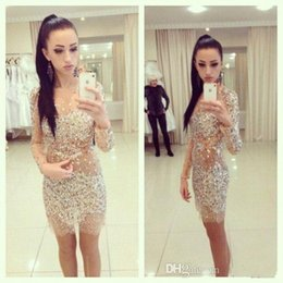 2016 Sexy Crystals Short Cocktail Dresses Crew Neck Party Dresses Full with Rhinestones Sheath Mini Long Sleeves Homecoming Dresses
