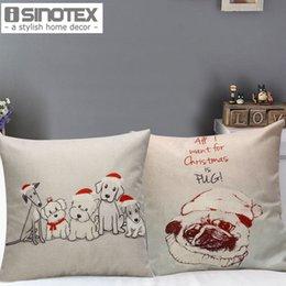 2016 чехлы собаки сиденье Xmas декоративные наволочки собака в Рождество Hat Pattern 45 * 45 см Сиденье диван подушечки Новый год Home Decor чехлы собаки сиденье клиренс