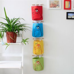 Wholesale Lovely Cartoon Collection Bag Oxford Hanging Storage Bags Household Organizer With Wood And Line Behind Doors On Wall