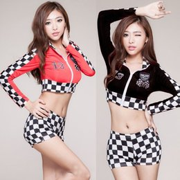Wholesale Sexy Girls Cheerleading Uniform Black Red Grid Tops Shorts Long Sleeve Women Erotic Football Basketball Baby School Sports Suits