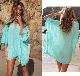 V-neck Bikini Cover Up Lace Hollow Beach Dress Tops Beachwear Cover-ups Free Shipping