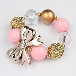 kids girl bubblegum bracelet Children girls Colorful Beads Pearl Bubblegum with flower Princess Jewelry chunky birthday gift 20pcs