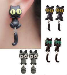 Wholesale 12 Pairs Handmade Polymer Clay Cute Lovely Cat Animal Stud Earrings Ear Stud jewelry Brincos De Festa