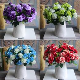 Bunch 15 heads Fake Silk Flowers Bouquet Artificial Rose Bridal Floral Decor Plant Flower Arrangement