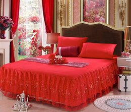 Wholesale Cheap lace princess bed shirt pink purple red begie beautiful lace wedding bedding supplies