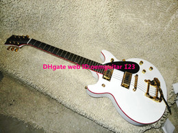 Wholesale New Arrival G6128T falcon Duo Jet white Guitar Red binding With tremolo Electric Guitar