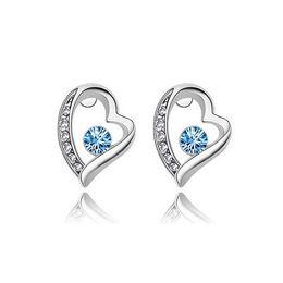 18K White Plated Heart Zircon Stud Earrings For Women Best Gift Ture Love For Lift South Korean Simple Crystal Earrings Bride Jewelry 8025