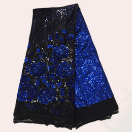 Most popular black with royal blue flower sequins French embroidery net lace fabric FN2-2,fashion African mesh lace cloth for party dress