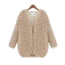Wholesale-Winter Fall Womens Fluffy Coat Shaggy Faux Fur Cape Jacket Elegant Outwear Cardigan Tops Wool Warm Outfit Overcoat