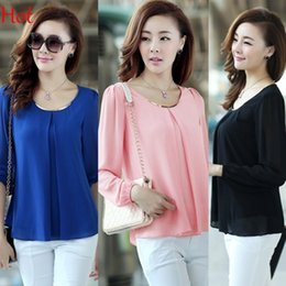2015 New Chiffon Blouse Shirts Fashion Hot Sale Plus Size Casual Long Sleeve Blouse Tops For Women Clothing Black Blue Pink Green SV001416