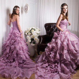 Vestidos de novia de imitación de la imagen real de la sirena A-Line plisados tutú púrpura 2016 sexy largo princesa cabida coloridos vestidos de novia tren capilla desde sirena capilla entrenan púrpura fabricantes
