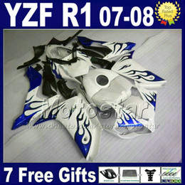 NEW HOT fairings + tank cover for YAMAHA R1 fairing kits 2007 2008 yzfr1 07 08 blue white Injection ABS MT62