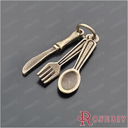 Wholesale Sets Antique Bronze Plated Zinc Alloy Bracelet Charms Knife fork spoon sets Charms Diy Jewelry Findings Accessories