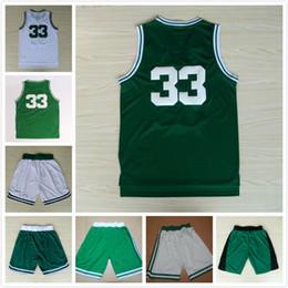 Sale! # 33 Jerseys Basketball Shirt Big Bird Embroidery Mesh Green & White 2 Styles Basketball Jersey Shirts Shorts