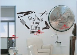 Wholesale Home Decor Wall Sticker Hair Salon Wall Sticker Hair Nail Beauty Salon Scciors Hair Dryer Vinyl Wall Decal Sticker Removeable Hair Shop