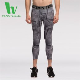 Wholesale Men s Compression Cropped Trousers Base Layer Fitness Joggers Pants Running Leggings Workout Finess Gym Tights Sportswear