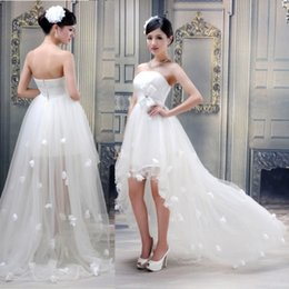 Wholesale 2015 High Low Short Beach Wedding Dresses Cheap Lace Bridal Gowns with Appliques and Handmade Flower Weddings Dresses Vestidos