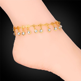Women Ankle Chains 18K Real Gold Platinum Plated Sandal Foot Jewelry Crystals Flowers Party Anklets Bracelets
