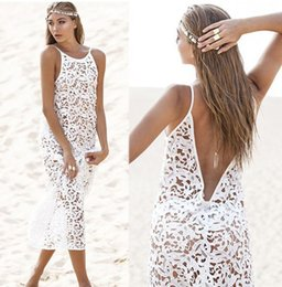 Wholesale-New White Crochet Women tunic Beach Dress Fashion Women Beach Cover up Beachwear 2015 Summer Sexy Lace Maxi Long Beach Dress