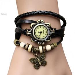 Descuento cuero reloj pulsera corazón 2015 vendedor caliente de la alta calidad de Dropshipping mujeres cubren la pulsera de reloj de pulsera de la vendimia de la mariposa del corazón del ala 34