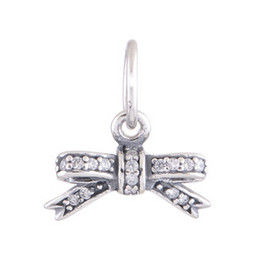 DELICATE BOW PENDANT DIY Beads Real Solid 925 Sterling Silver Not Plated Fits Original Pandora Bracelets & Bangles & Necklaces