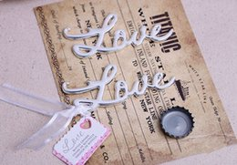 High-quality Script LOVE Word Love Bottle Opener Wedding Bridal Shower Favor Silver   Gold 100pcs free shipping