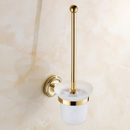 Wall Mounted Golden Polishe Finished Bathroom Accessories Toilet Brush Holders