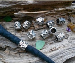 Wholesale TIBETAN Silver DREADLOCK BEADS mm Hole DREAD Hair Bead Hair Accessories Decoration Tibet Silver Style Faceted Flower Tube Dread Cuff
